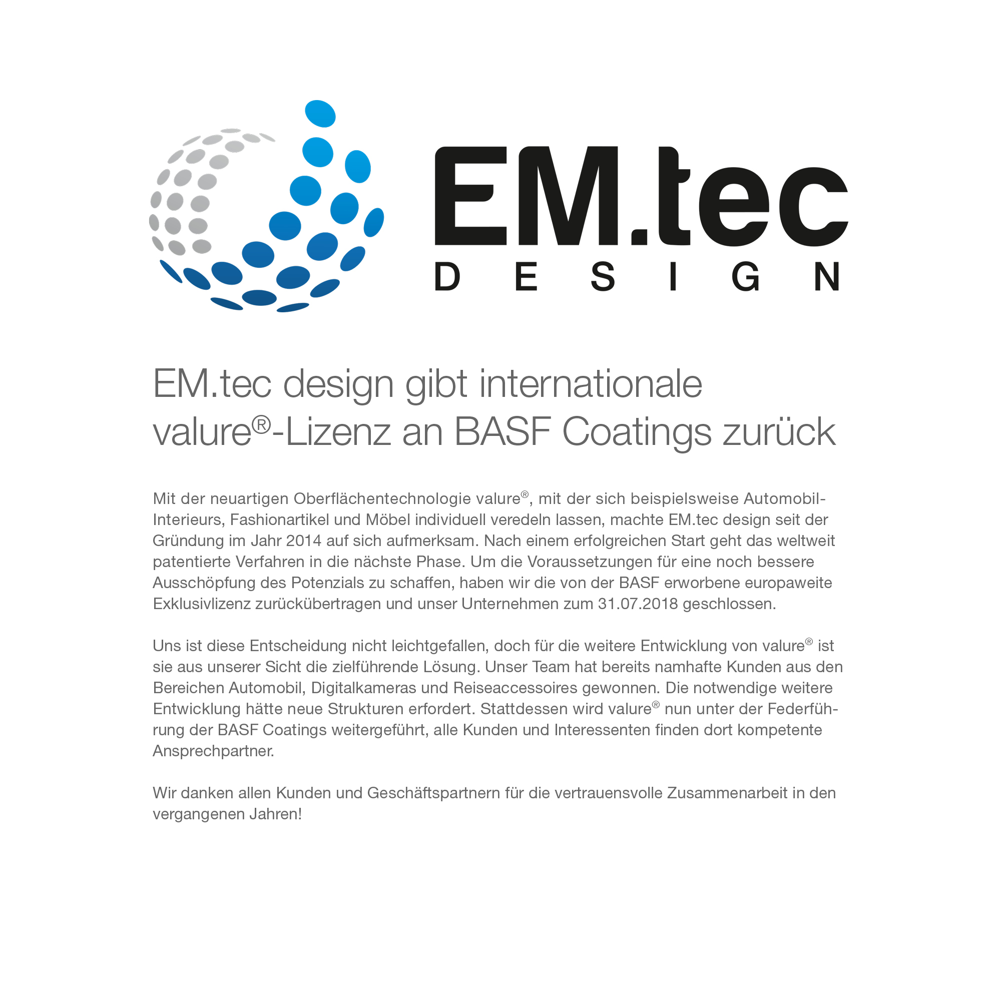 EM.tec design gibt internationale valure®-Lizenz an BASF Coatings zurück.